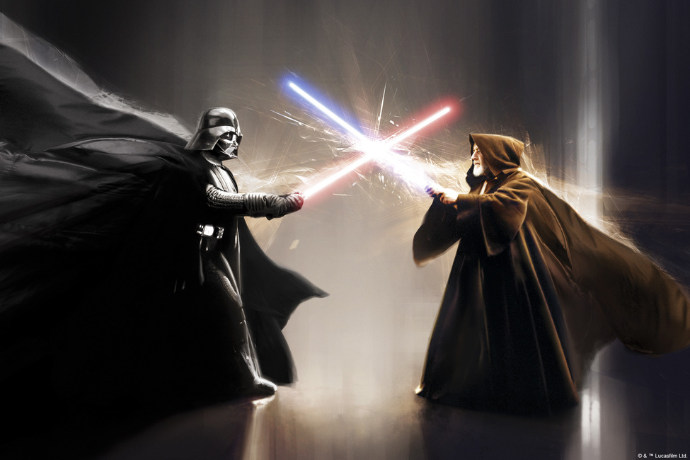 Star Wars - Darth Vader and Obi-Wan Kenobi Fototapeter & Tapeter 100 x 100 cm