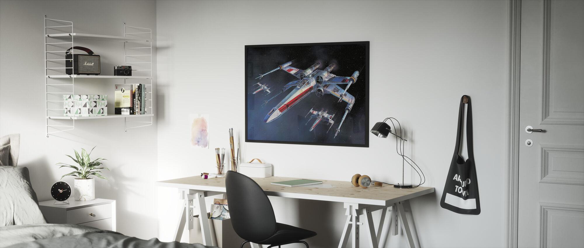 Star Wars - X-siipi Starfighters - Kehystetty kuva - Lastenhuone