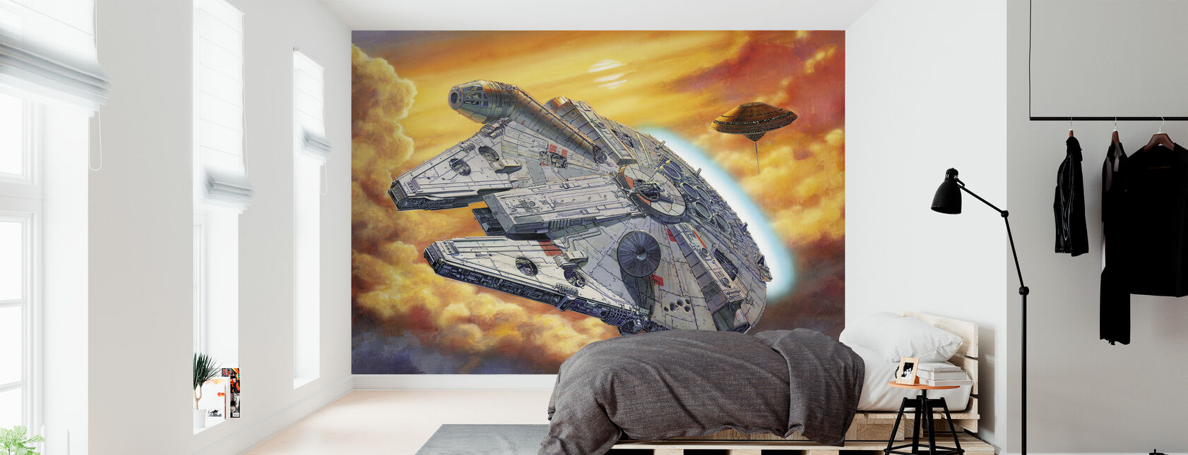 Star Wars - Millennium Falcon skyer - Tapet - Soverom