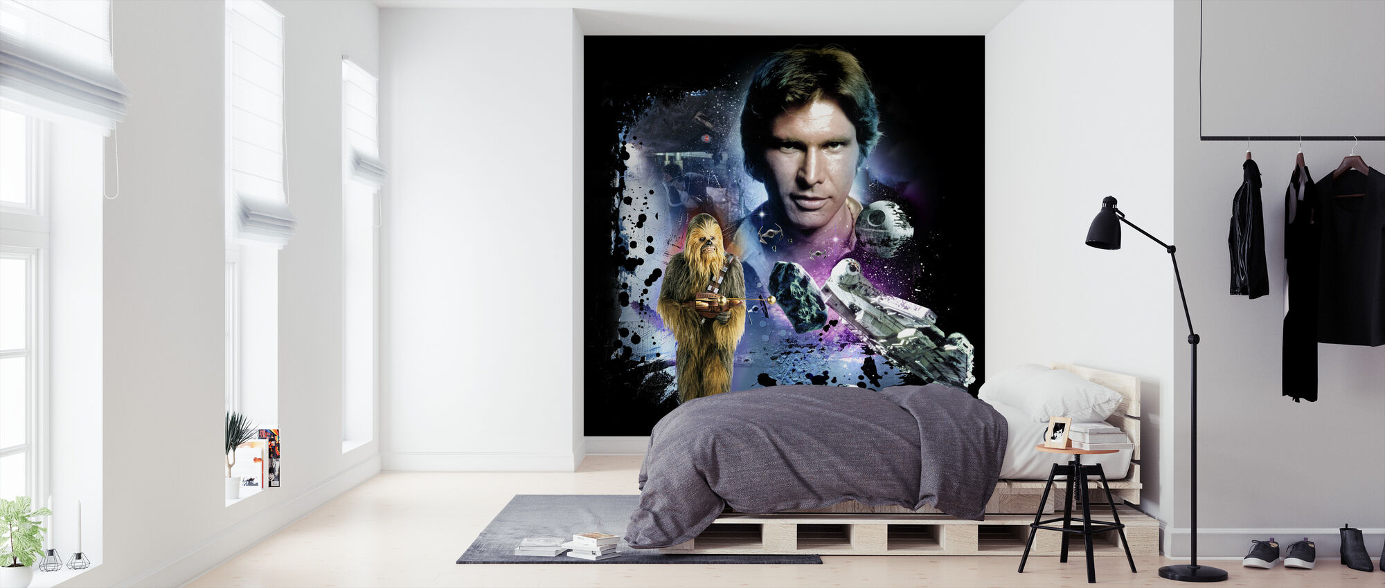 Star Wars - Han Solo og Chewbacca blå - Tapet - Soverom