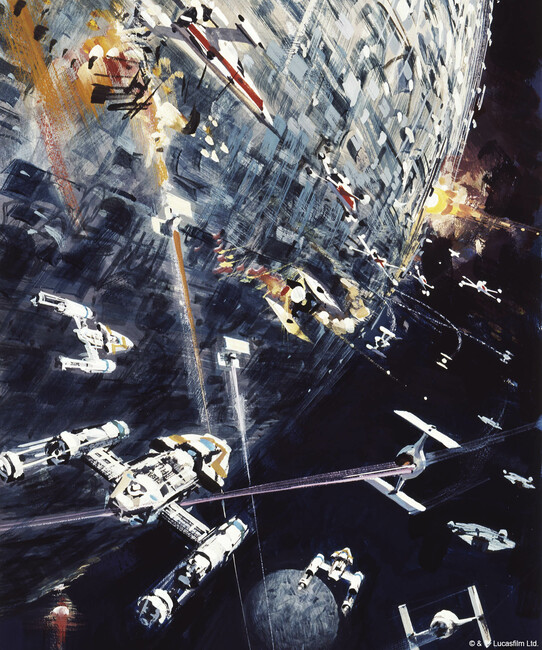 Star Wars - Death Star and Y-wing Starfighters Fototapeter & Tapeter 100 x 100 cm