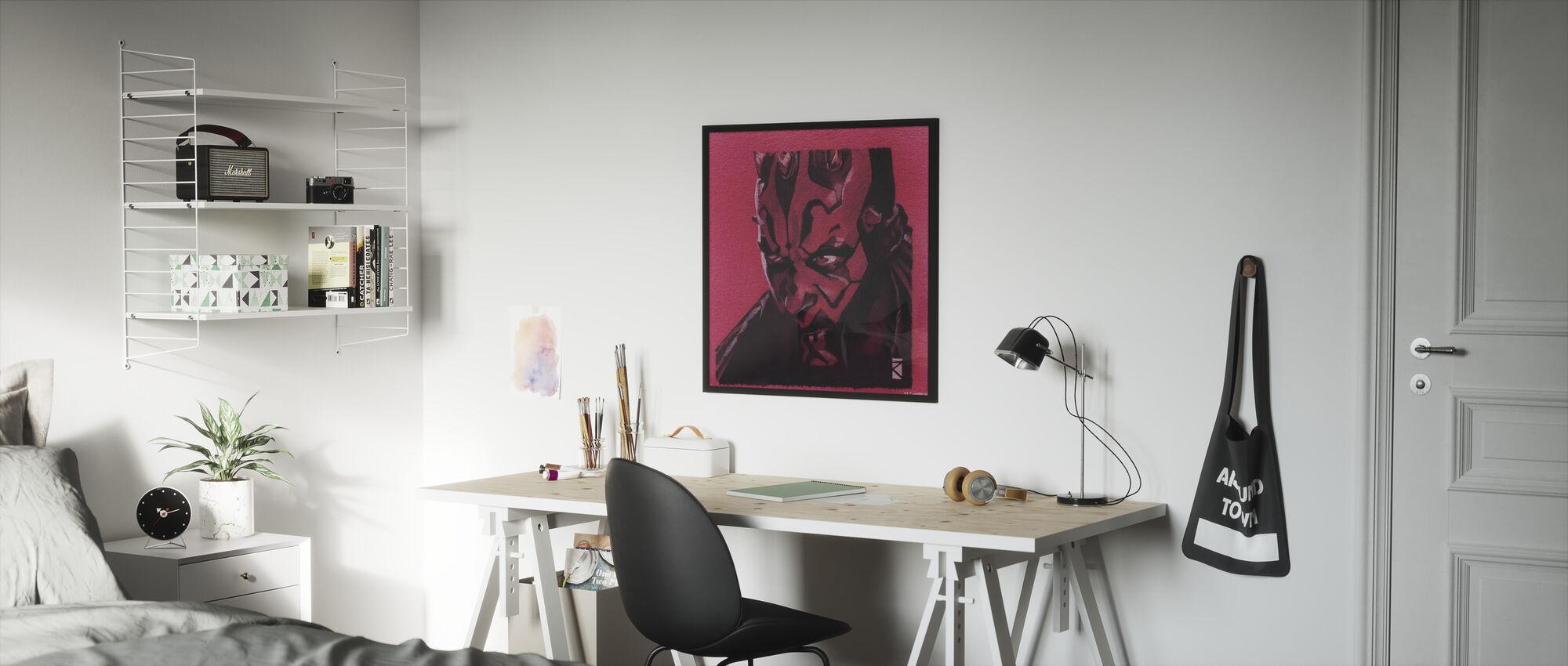 Star Wars - Darth Maul rød grafitt - Innrammet bilde - Barnerom