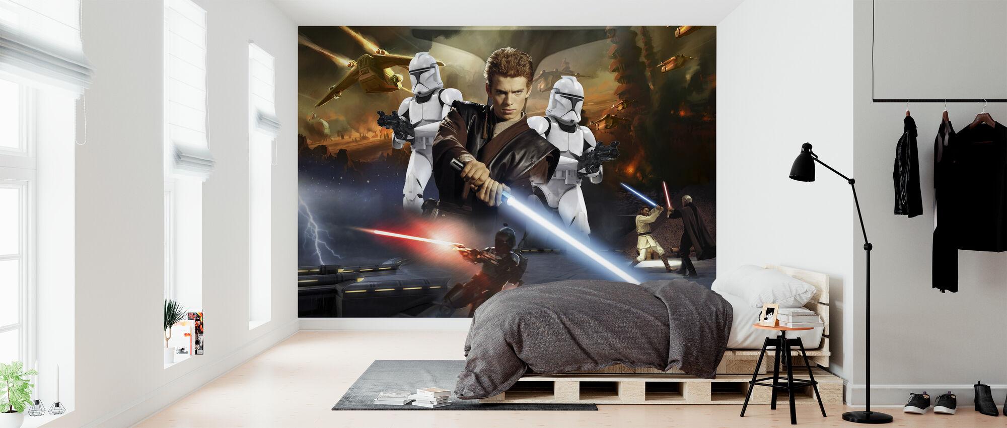 Star Wars - Anakin Skywalker ja klooni Troopers - Tapetti - Makuuhuone