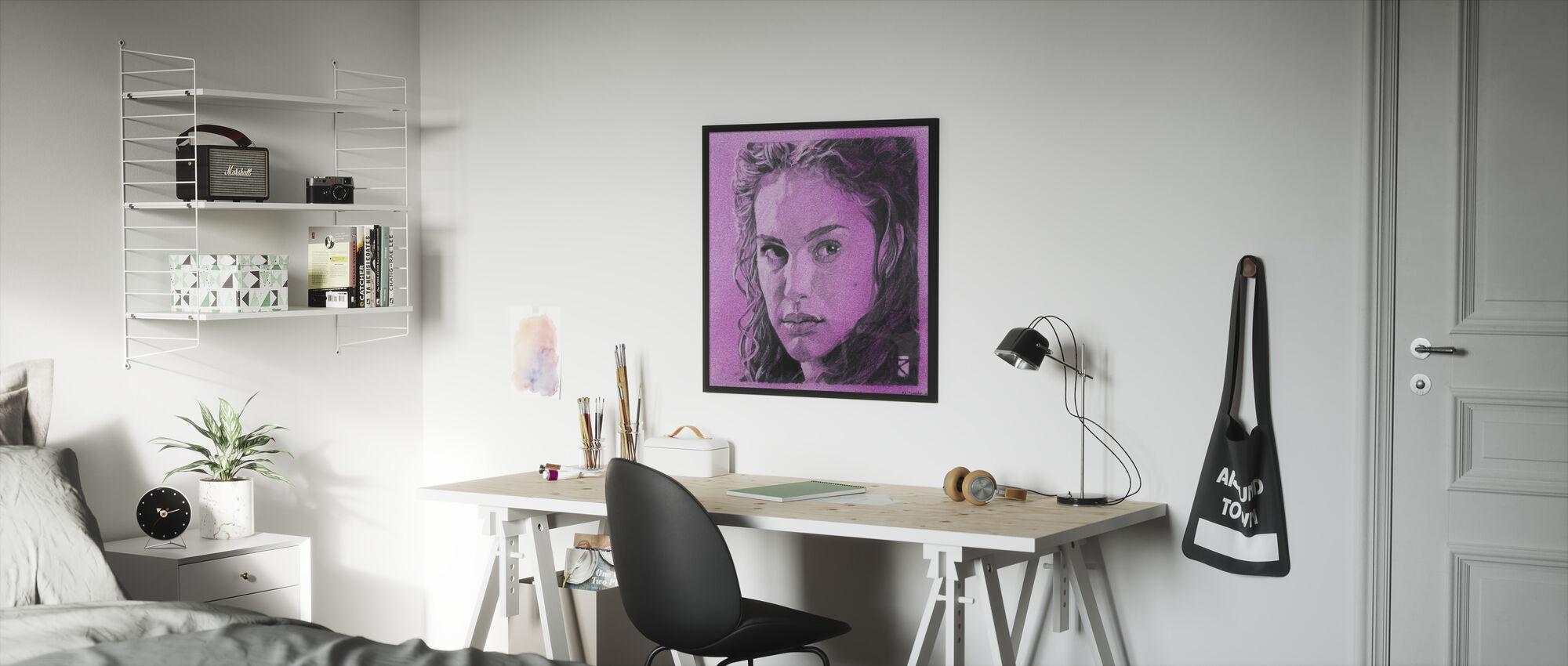 Tähtien sota - Padme Amidala violetti grafiitti 2 - Kehystetty kuva - Lastenhuone