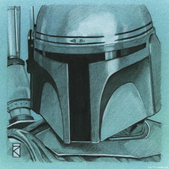 Star Wars - Jango Fett Blue Graphite Fototapeter & Tapeter 100 x 100 cm
