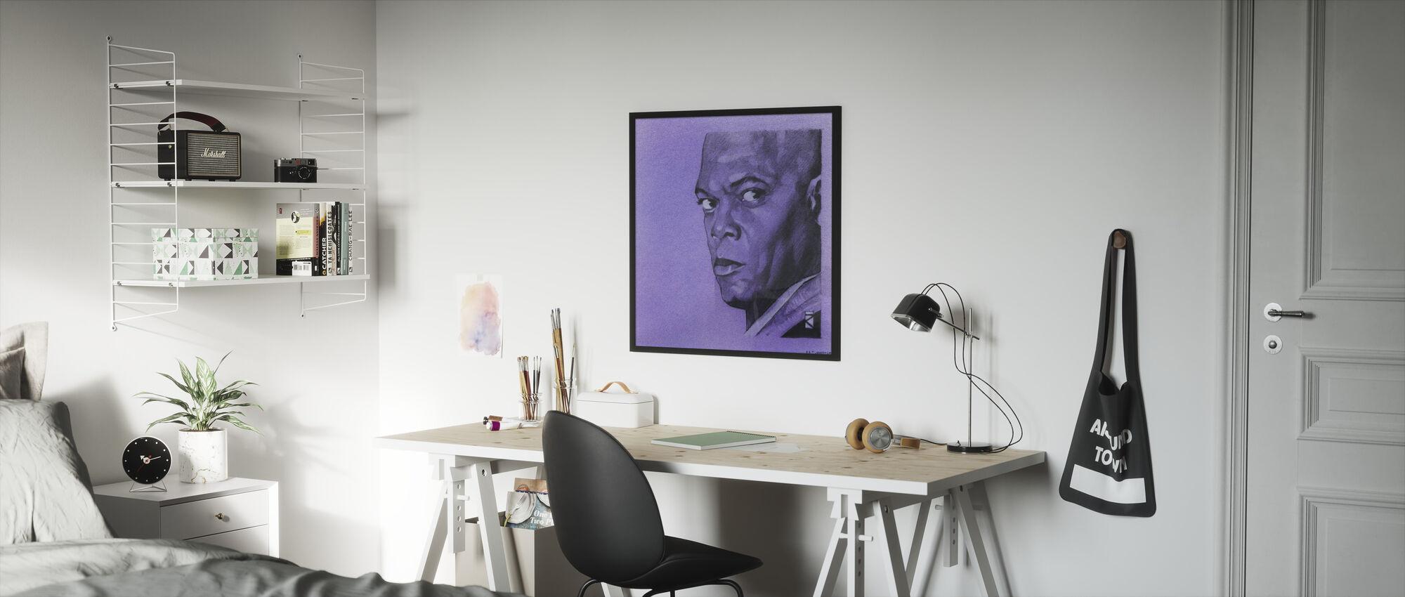 Tähtien sota - Mace Windu violetti grafiitti - Kehystetty kuva - Lastenhuone