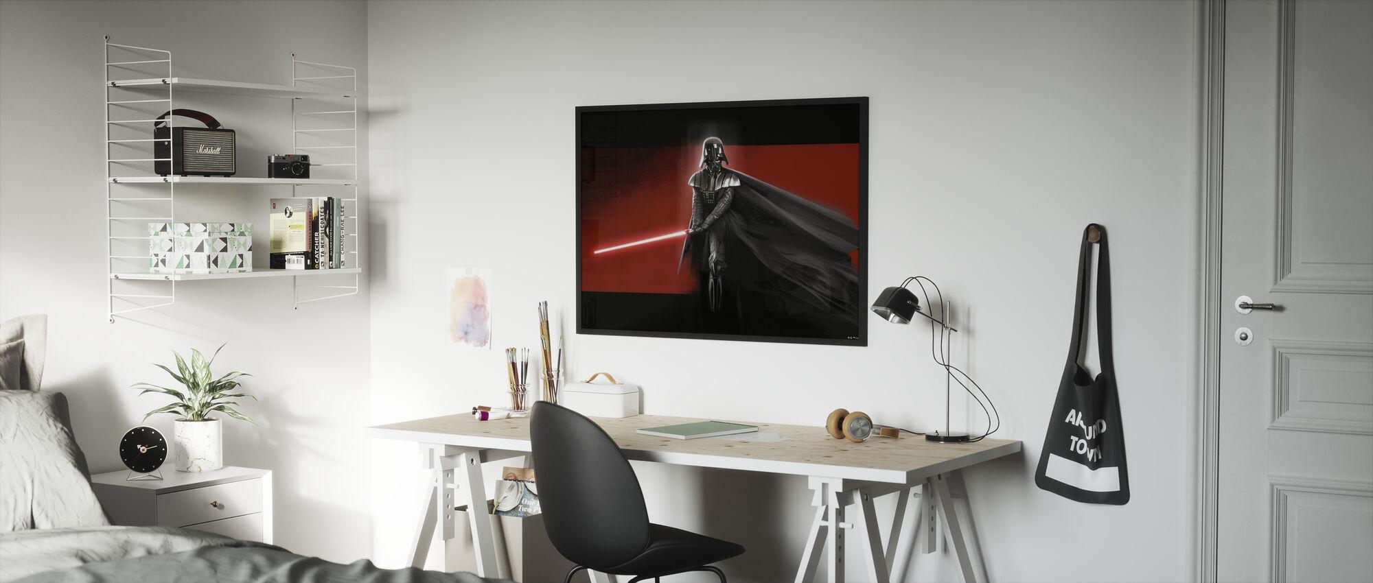 Tähtien sota - Darth Vader Punainen - Kehystetty kuva - Lastenhuone