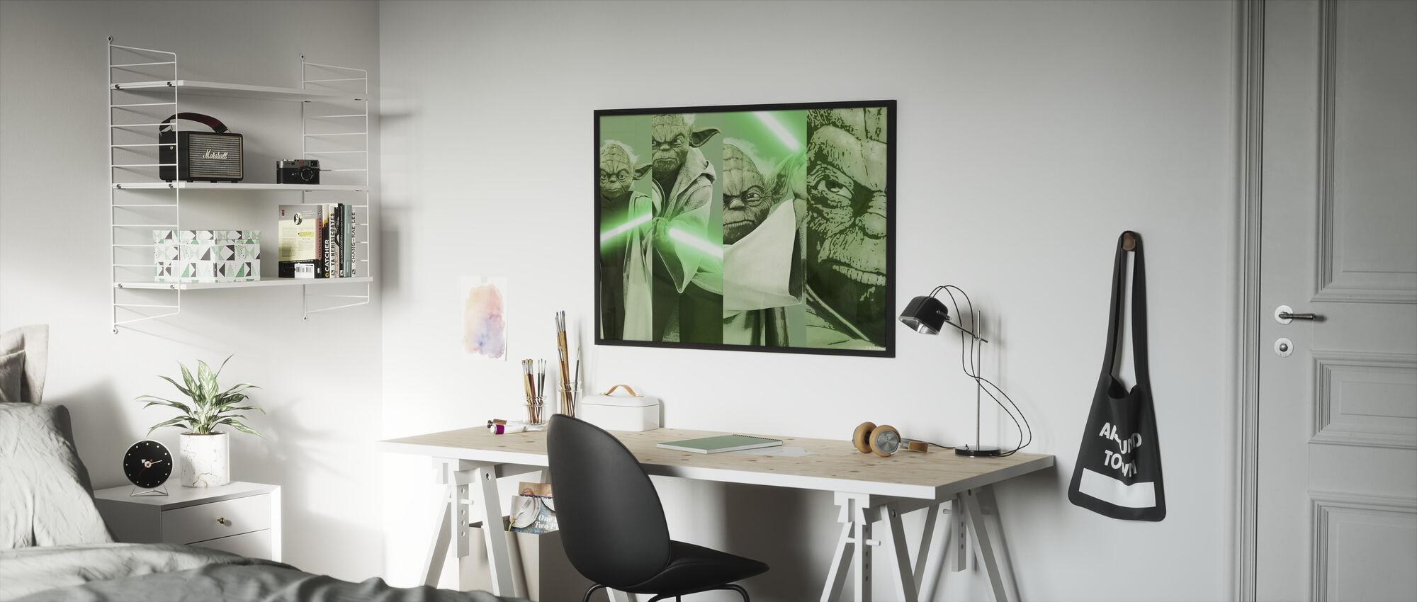 Tähtien sota - Yoda x 4 - Kehystetty kuva - Lastenhuone