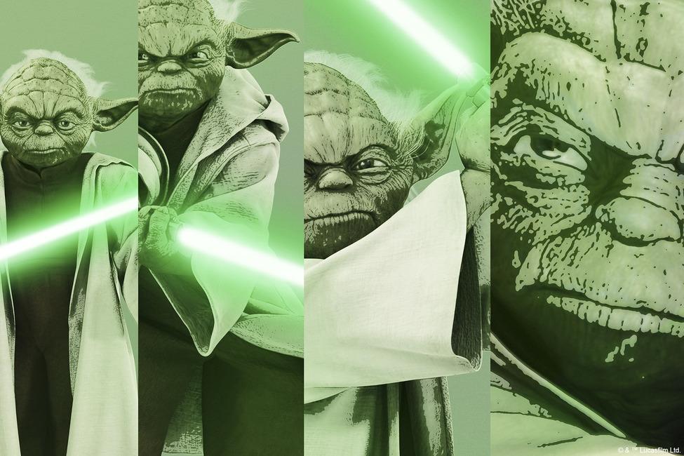 Star Wars - Yoda x 4 Fototapeter & Tapeter 100 x 100 cm