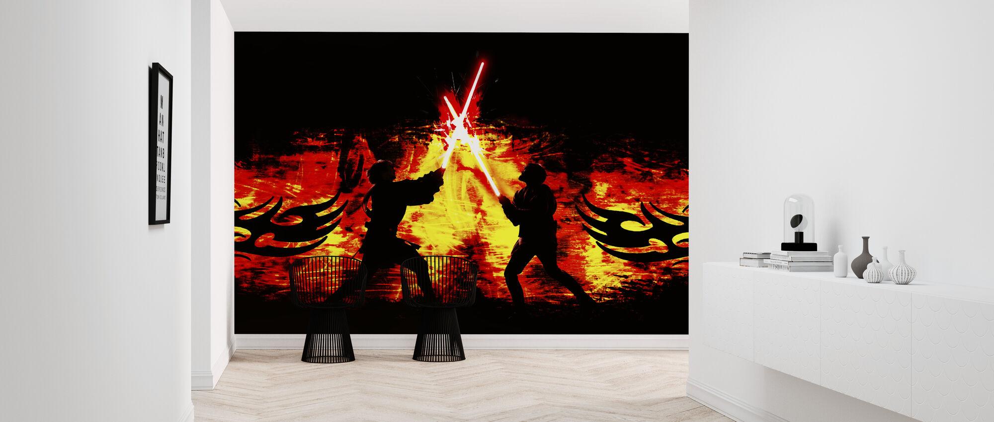 Star Wars - lyssaber kamp flammer - Tapet - Gang
