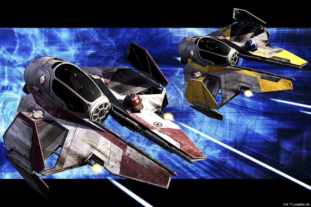 Star Wars - Starfighters Red and Yellow – stemningsfulde billeder på lærred – Photowall