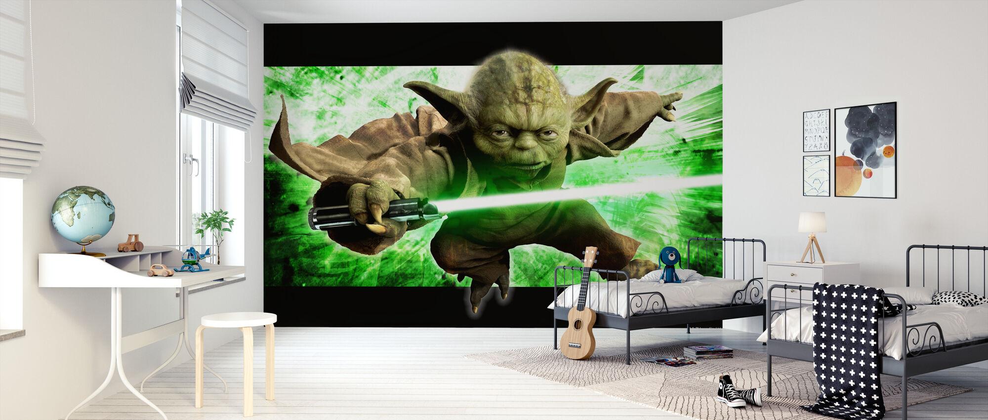 Star Wars - Yoda i aktion - Tapet - Børneværelse