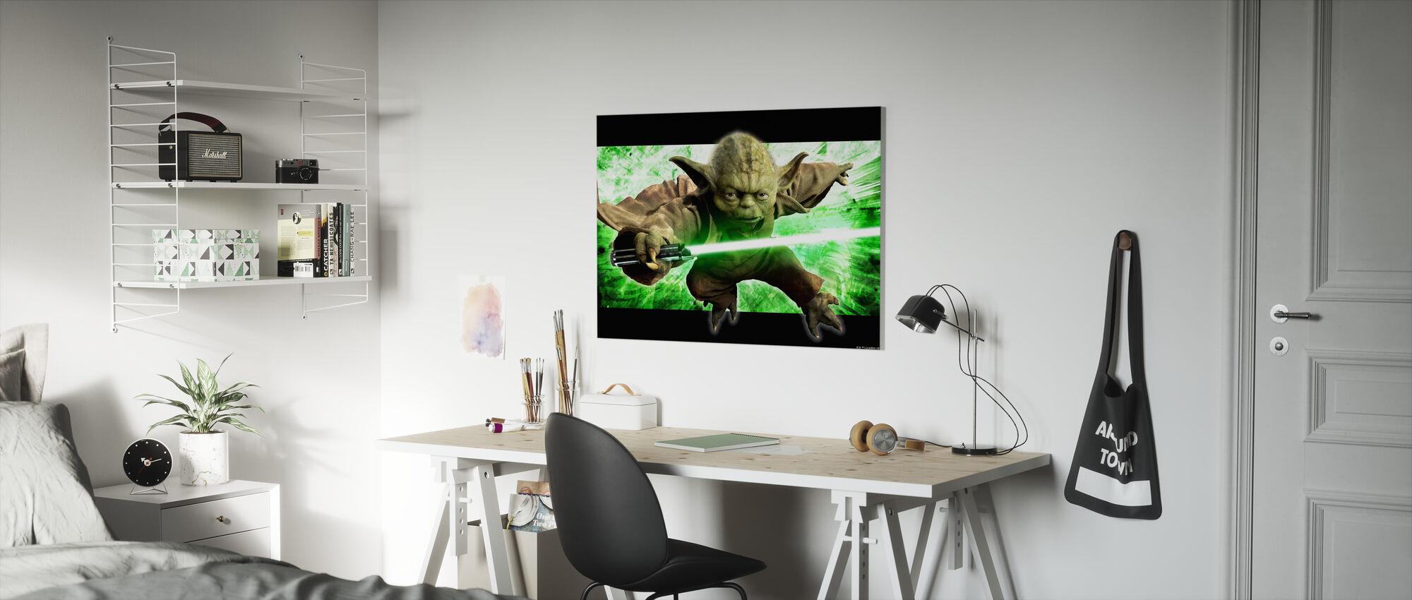 Star Wars - Yoda i aktion - Billede på lærred - Børneværelse