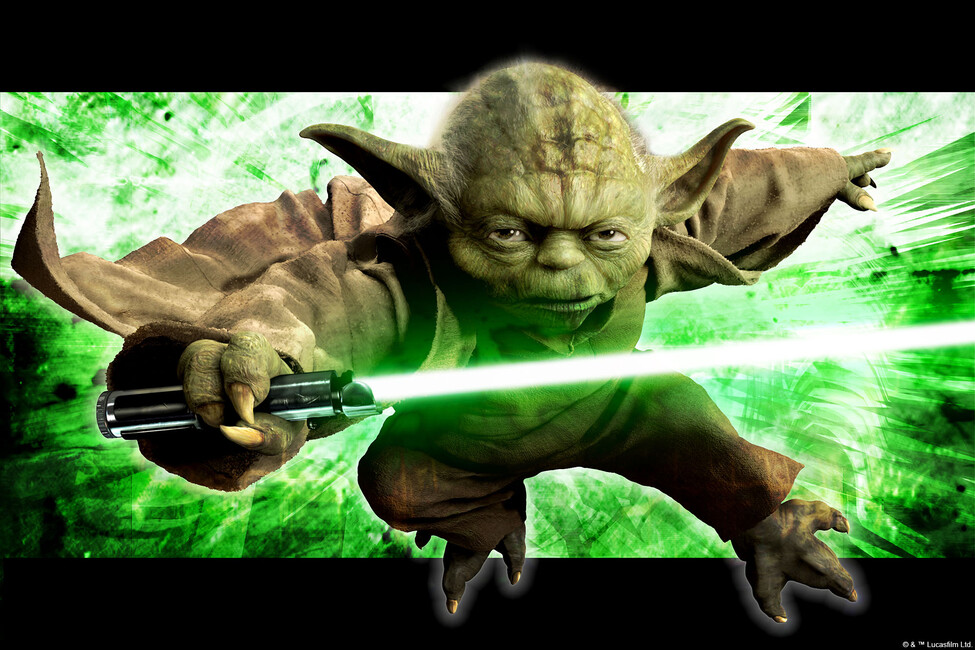 star wars yoda in action wall mural photo wallpaper photowall. Black Bedroom Furniture Sets. Home Design Ideas