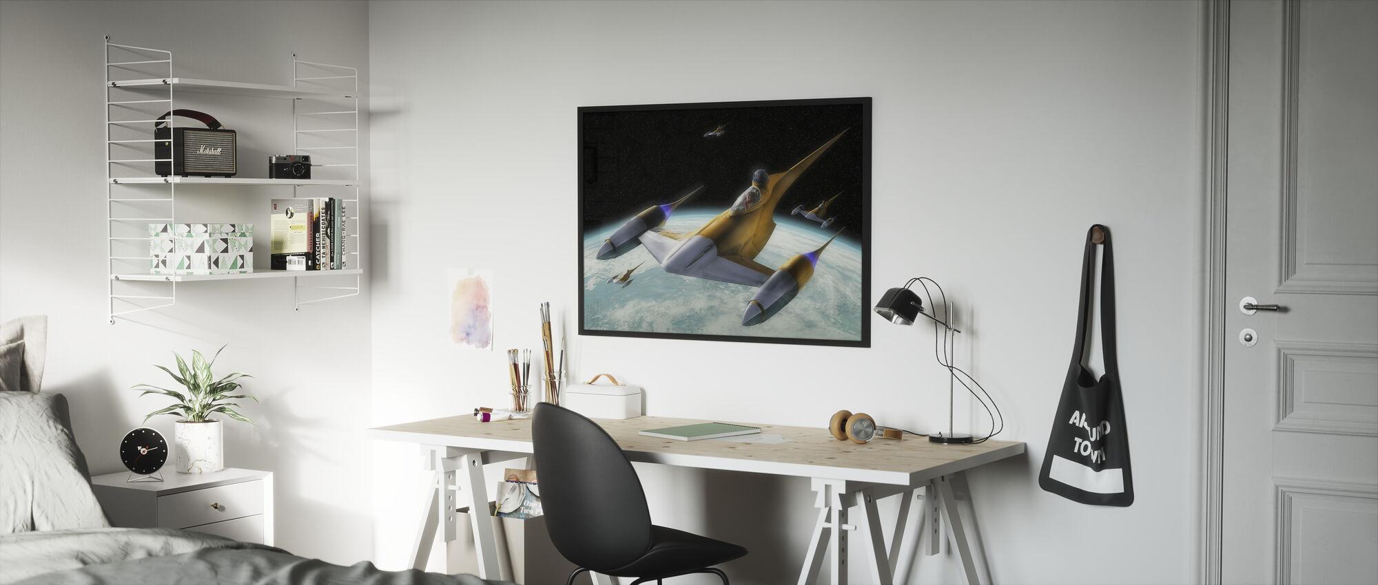 Tähtien sota - Naboo Starfighters 1 - Kehystetty kuva - Lastenhuone
