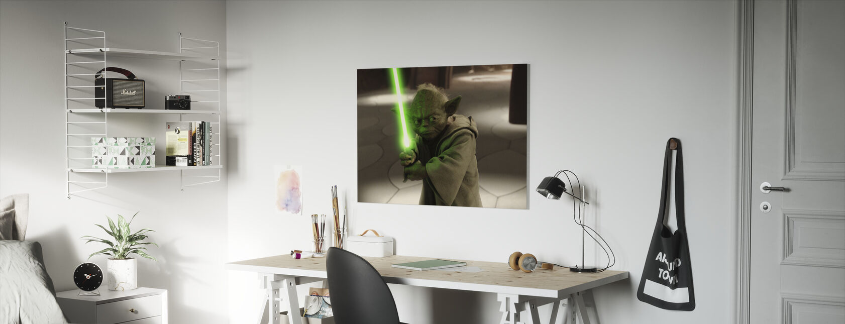 Star Wars - Yoda i Geonosis hemmelig hangar - Lerretsbilde - Barnerom