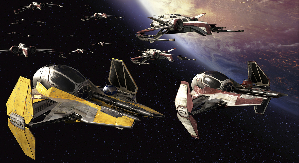 Star Wars - Starfighters over Planets 3 Fototapeter & Tapeter 100 x 100 cm