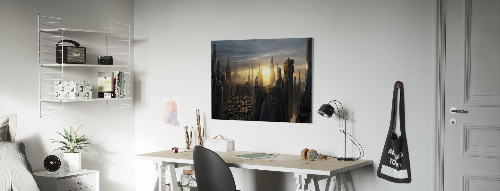 Star Wars - Koruscant byggnader solnedgång - Canvastavla - Barnrum