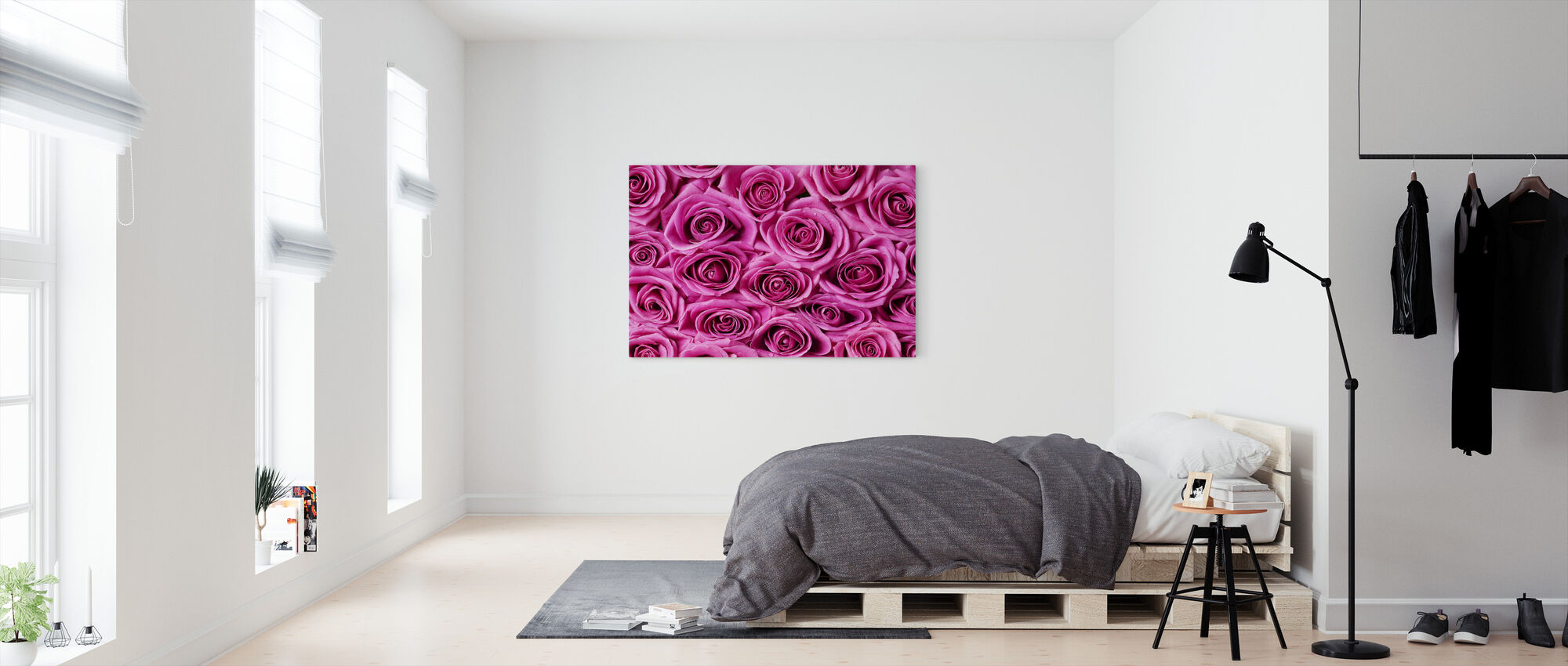 Roses - Pink - Canvas print - Bedroom