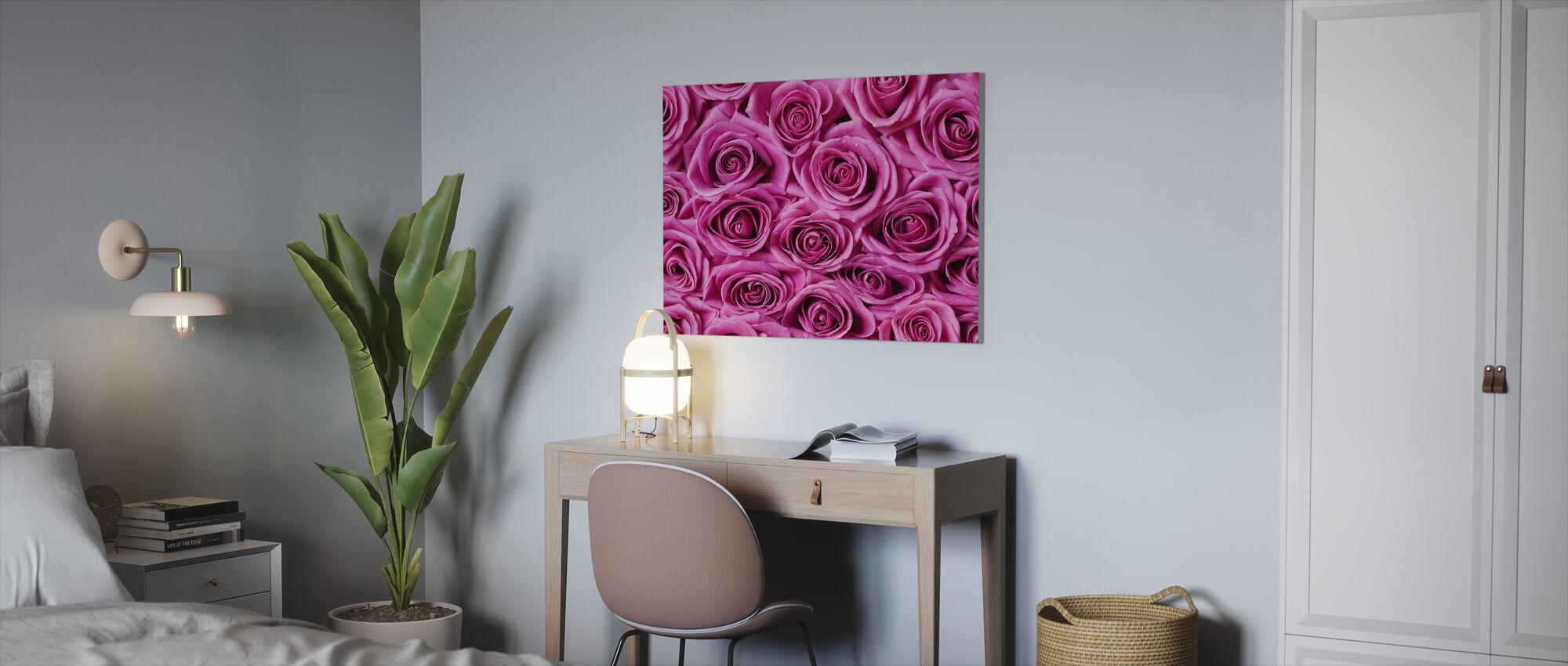Roser og krysantemum - Lerretsbilde - Kontor