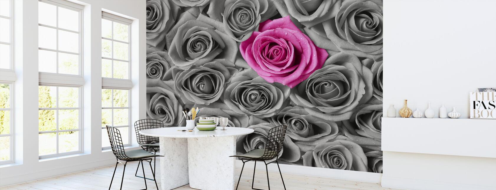 Rosor - rosa och grå - Tapet - Kök