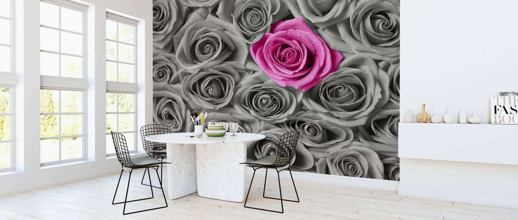 Roses - Pink and Grey - Wallpaper - Kitchen