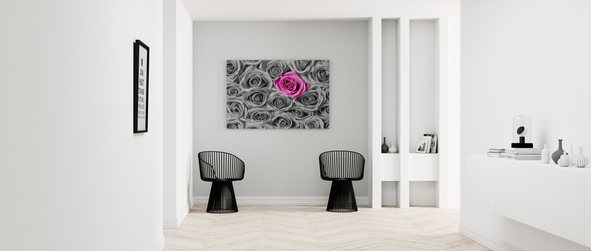 Roses - Pink and Grey - Canvas print - Hallway
