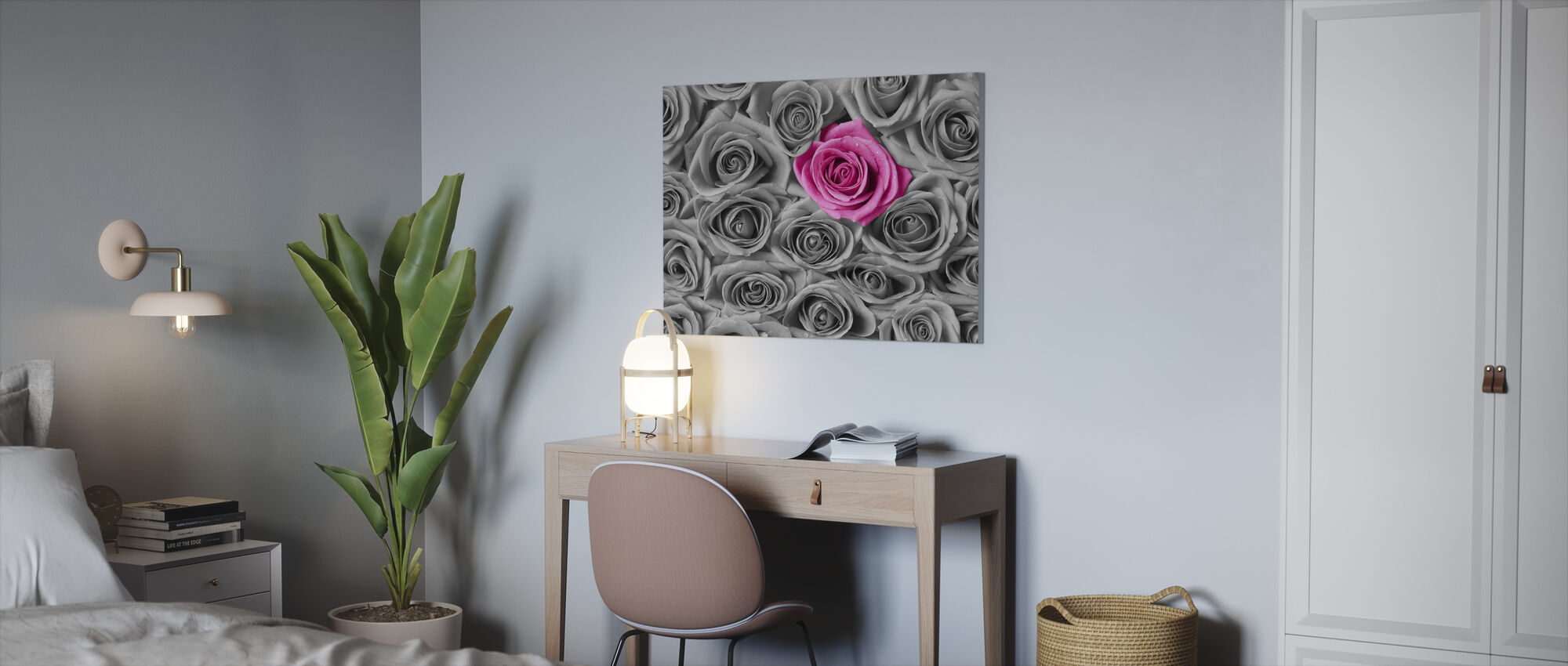 Roses - Pink and Grey - Canvas print - Office
