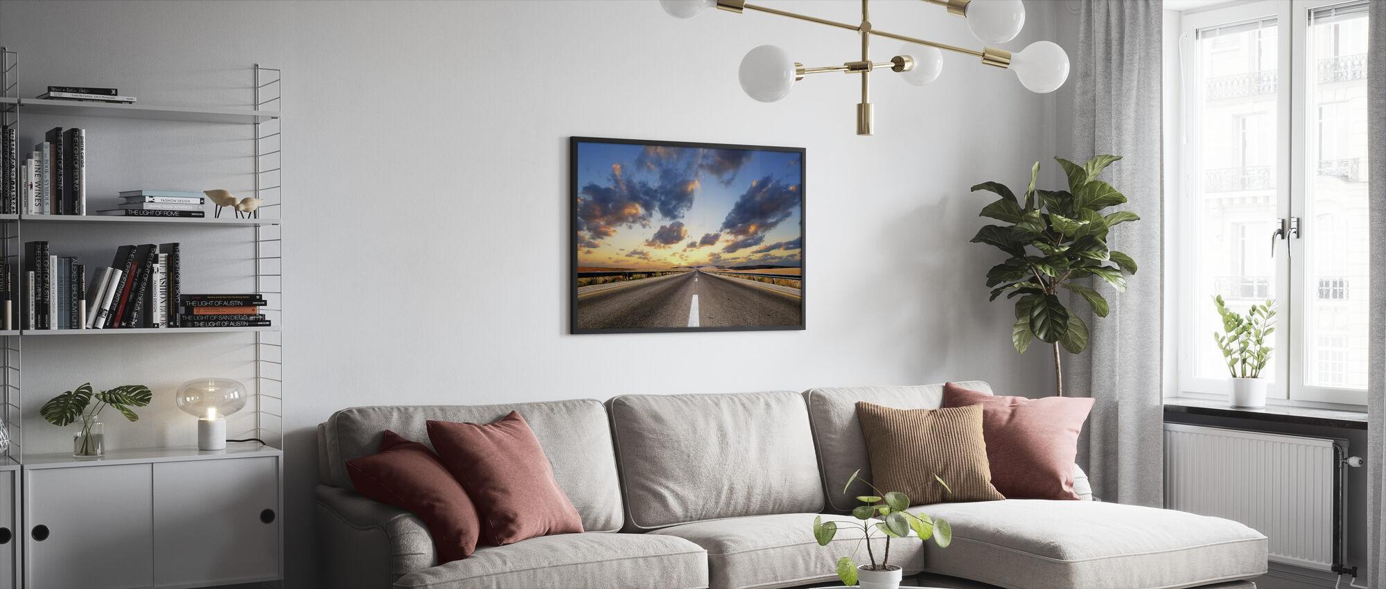 Road under Dramatic Sky - Framed print - Living Room