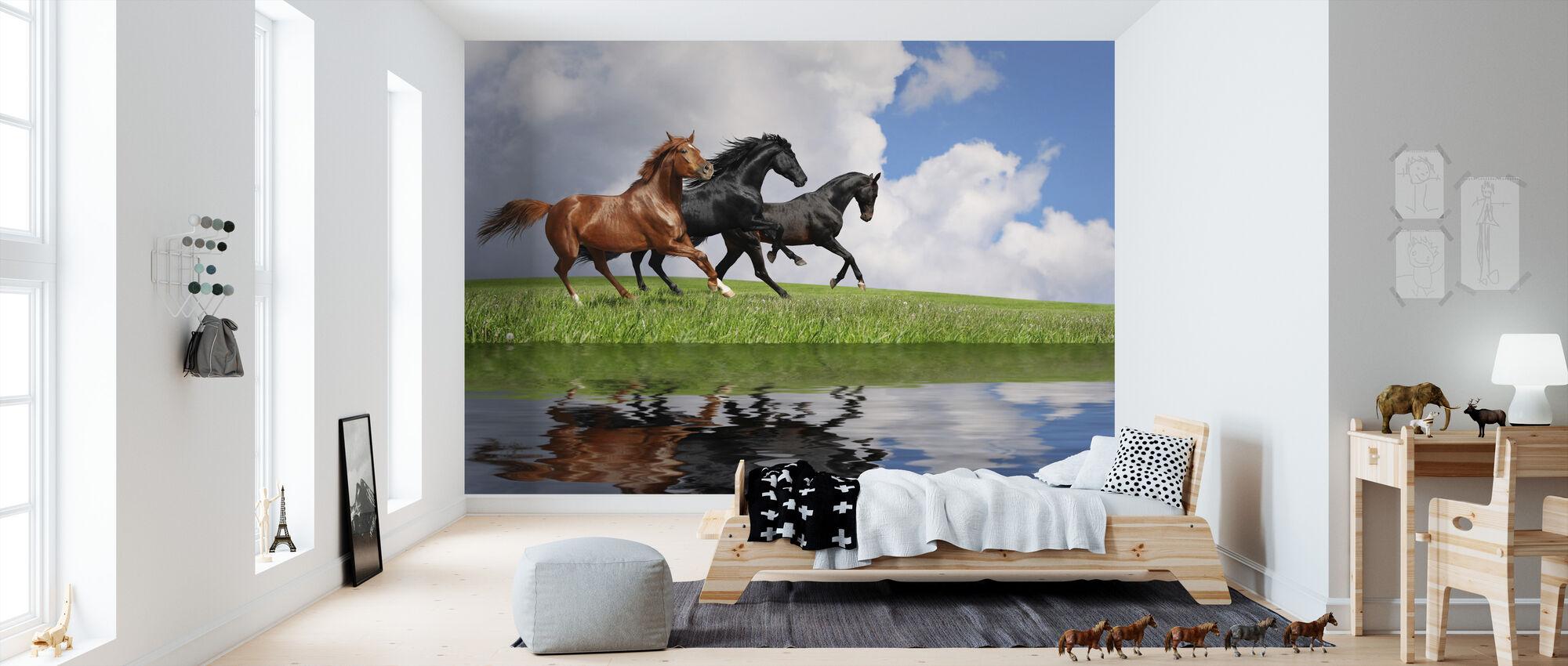 Gallop Paarden - Behang - Kinderkamer
