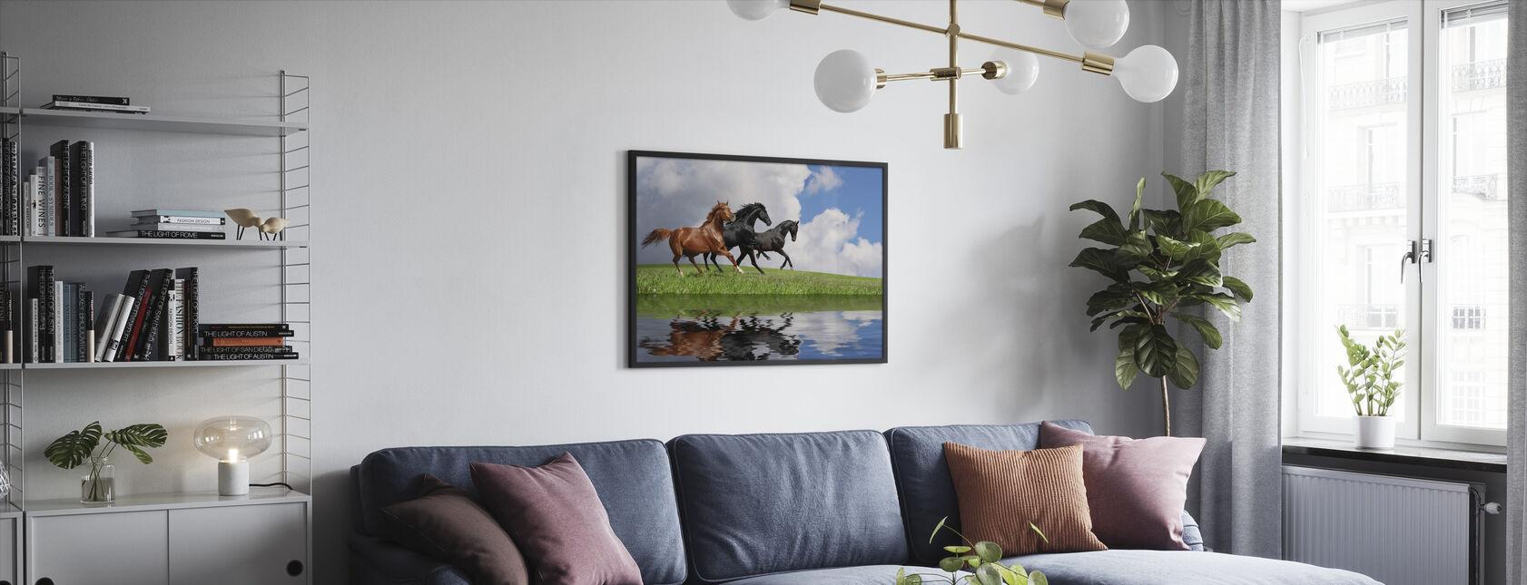 Gallop Horses - Framed print - Living Room