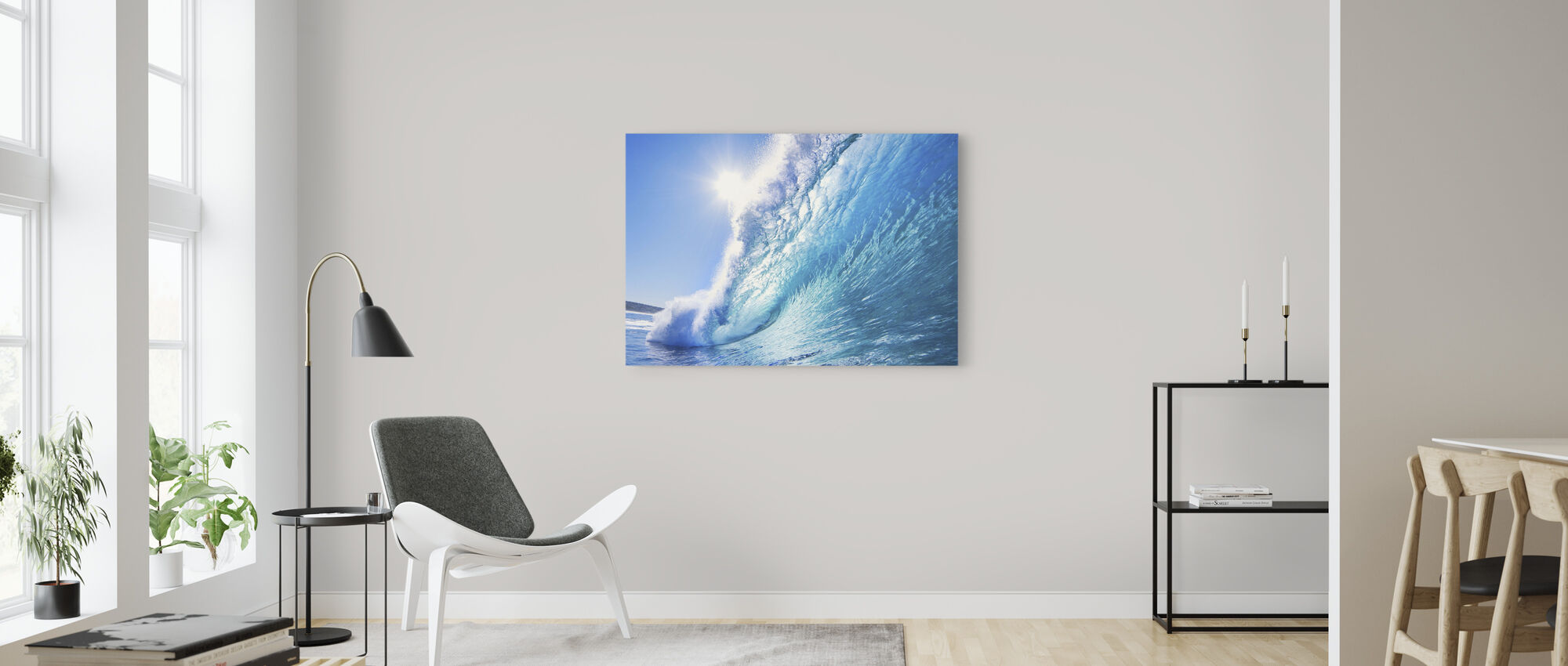 Big Blue Surfing Wave - Canvas print - Living Room