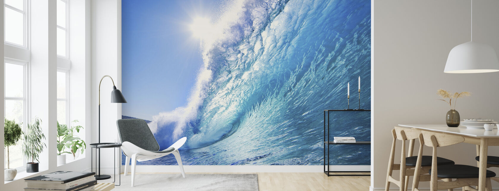 Big Blue Surfing Wave - Wallpaper - Living Room