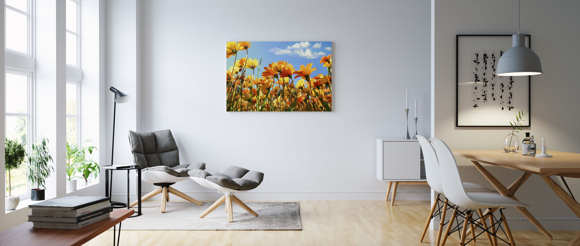 Spring Orange and Yellow Wildflowers - Canvas print - Living Room
