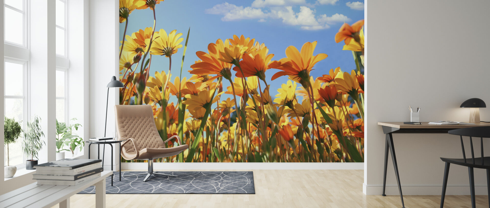Spring Orange and Yellow Wildflowers - Wallpaper - Living Room