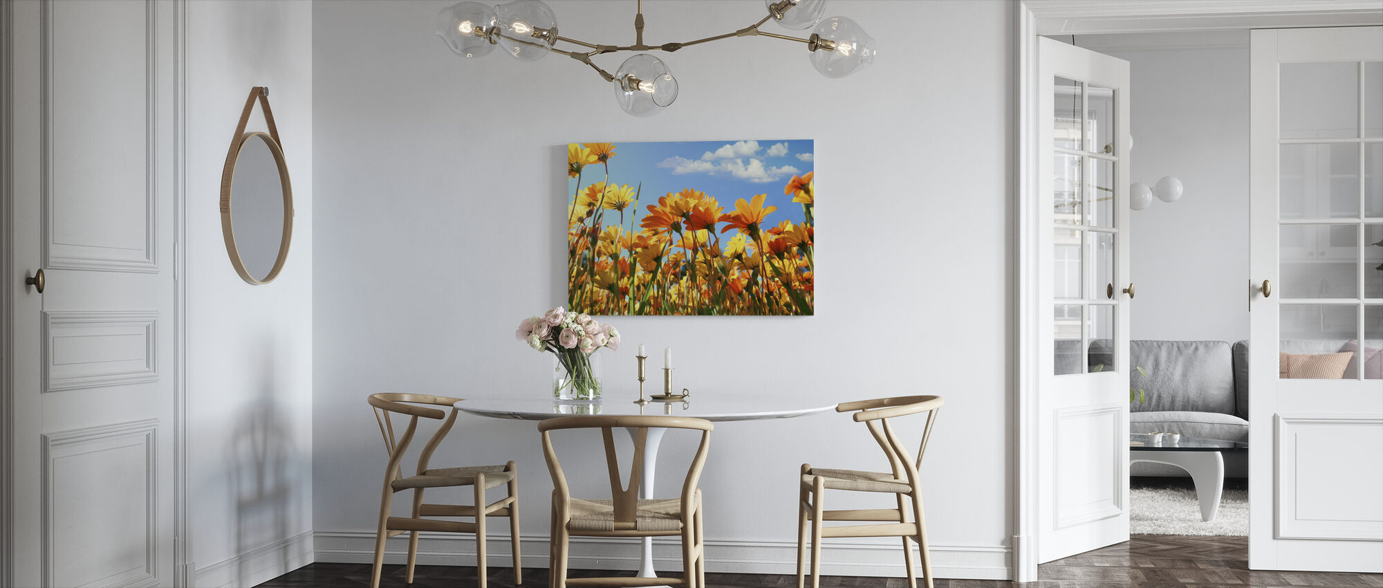 Spring Orange and Yellow Wildflowers - Canvas print - Kitchen
