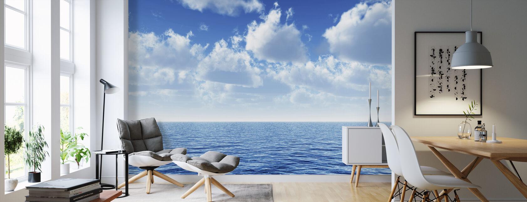 Overskyet blå himmel horisont - Tapet - Stue