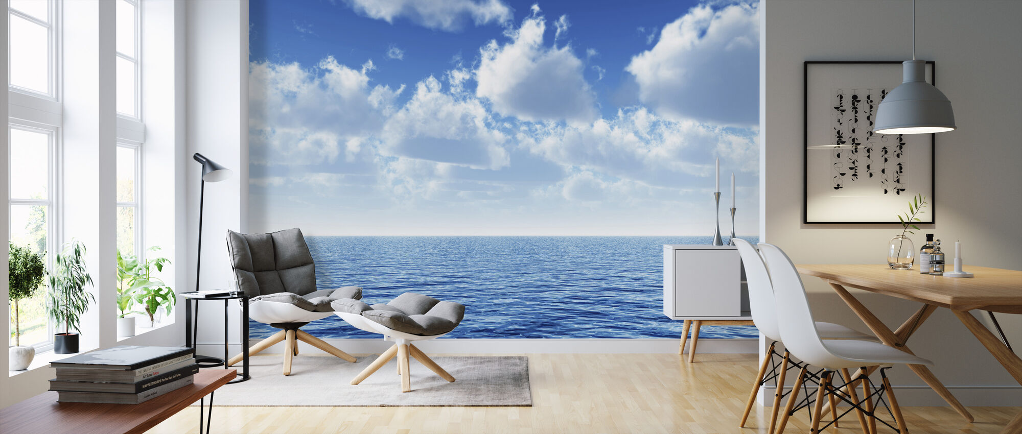 Cloudy Blue Sky Horizon - Wallpaper - Living Room