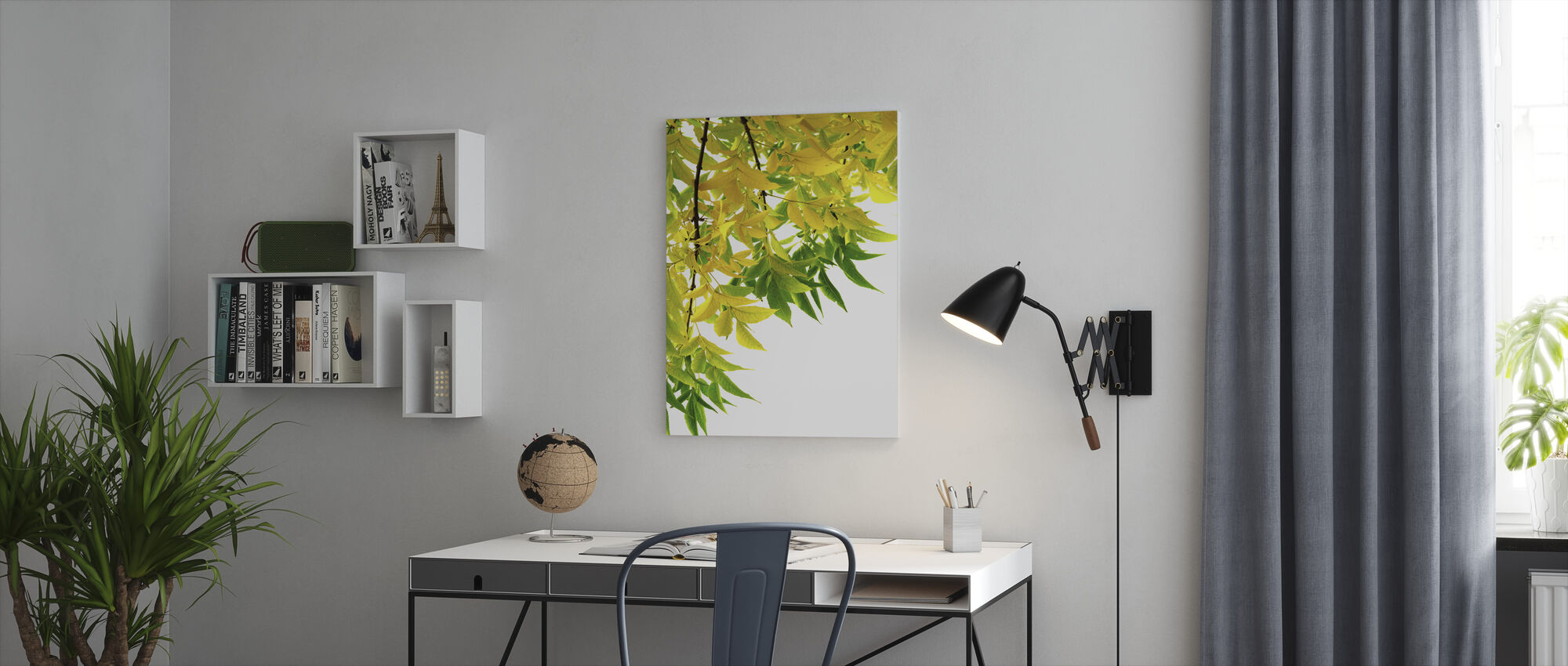Green and Yellow Leaf - Canvas print - Office