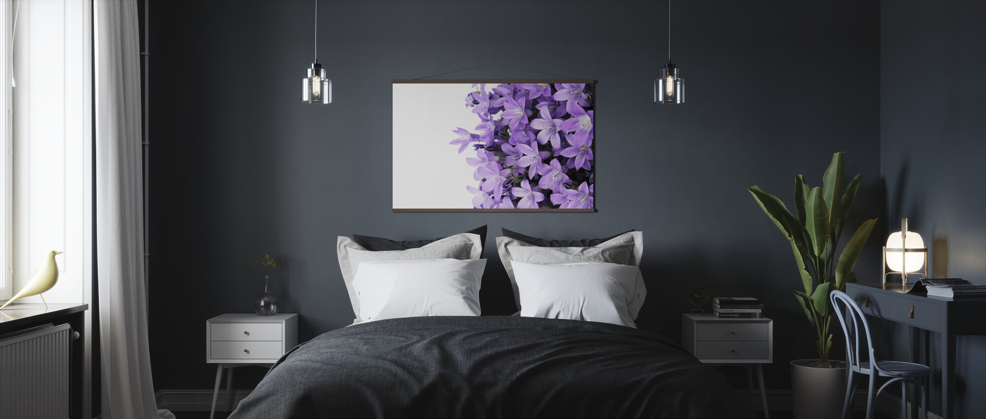 Violetti Kukat - Juliste - Makuuhuone