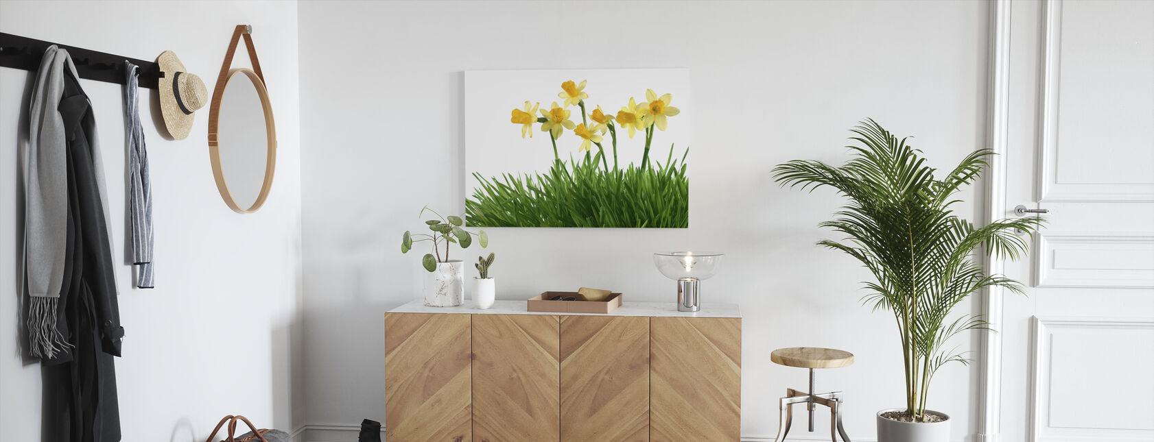 Daffodils in Green Grass - Canvas print - Hallway