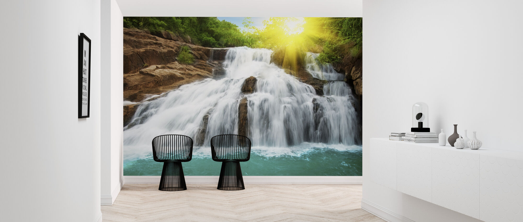 Waterfall in Rain Forest and Sunlight - Wallpaper - Hallway