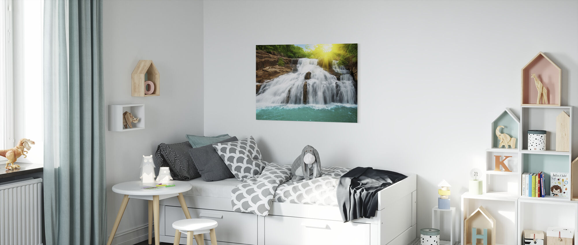 Waterfall in Rain Forest and Sunlight - Canvas print - Kids Room