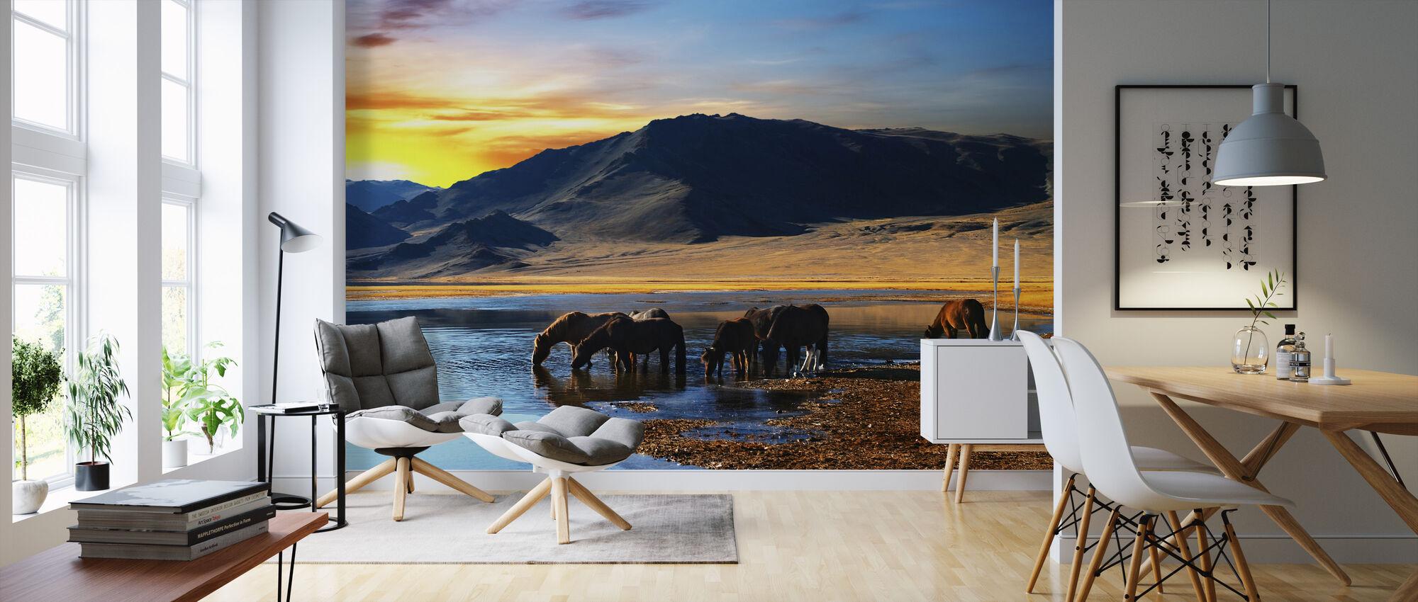 drinking horses fototapete nach ma photowall. Black Bedroom Furniture Sets. Home Design Ideas