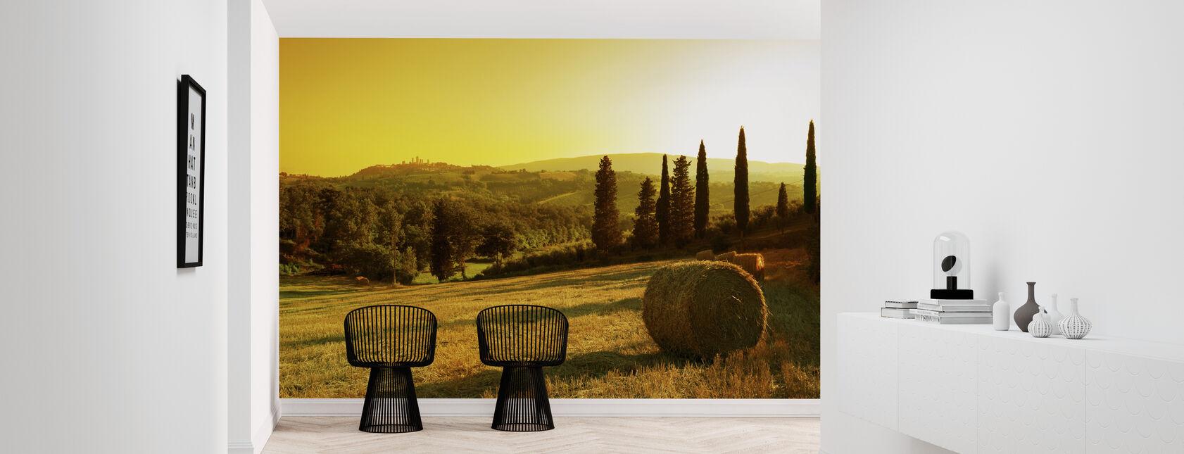 Auringonlasku Toscanan maisema - Tapetti - Aula