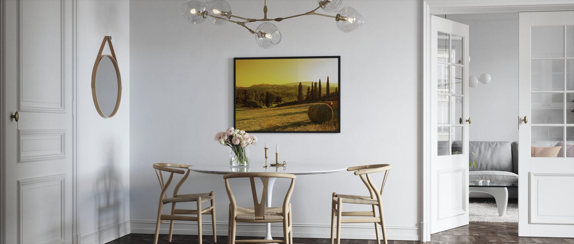 Auringonlasku Toscanan maisema - Kehystetty kuva - Keittiö