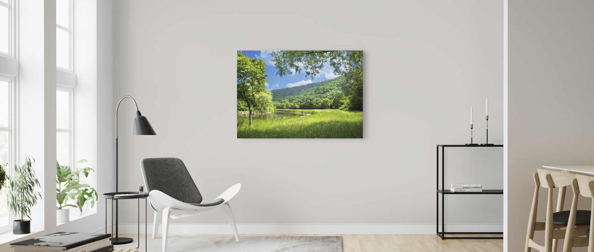 Summer Landscape with River - Canvas print - Living Room