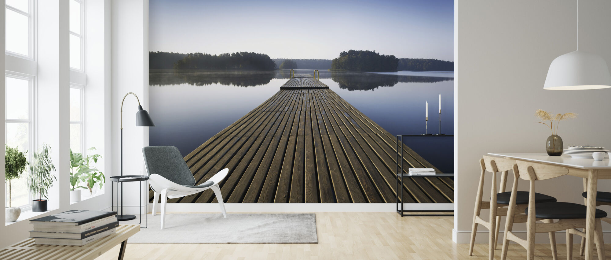 Wooden Pier at Morning - Wallpaper - Living Room