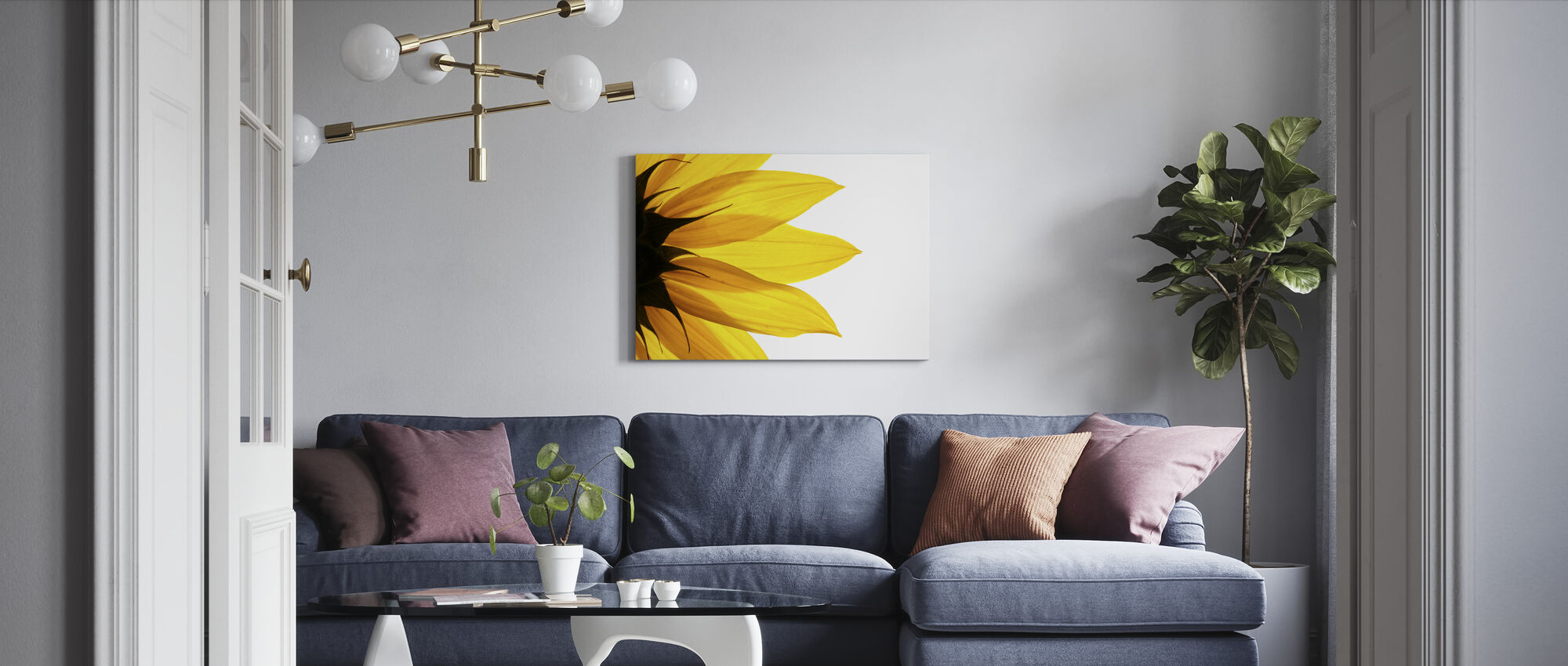 Sunflower Detail - Canvas print - Living Room