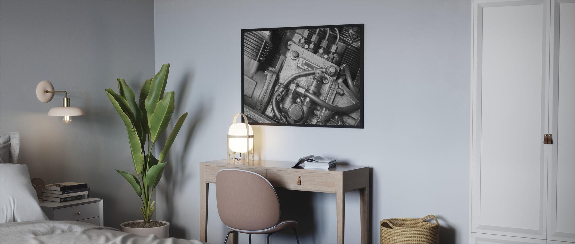 Car Engine - Monochrome - Framed print - Bedroom